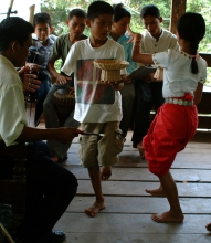 Children injured by landmines learn the Apsara dance